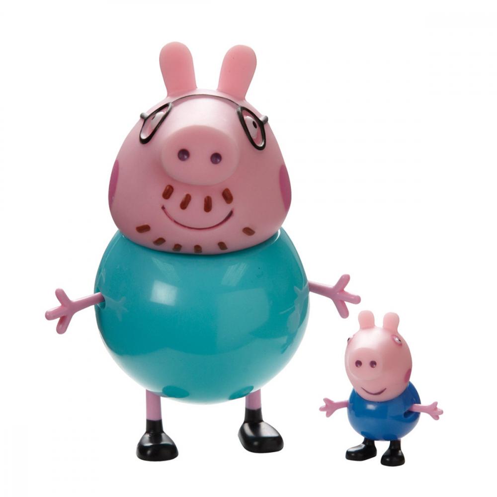 Figuras Coleccionables Familia Peppa Pig 2 Unidades Padre Pig Y