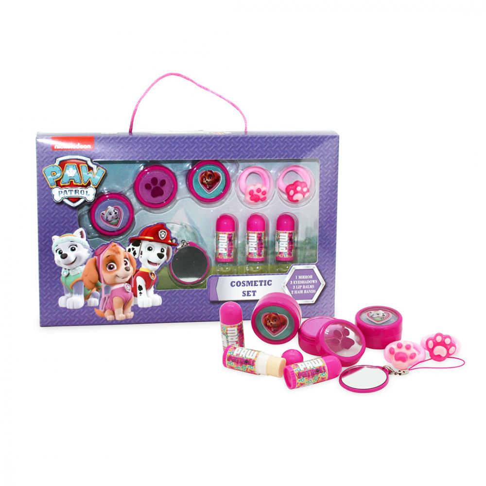2cfae4e02 Set de cosmética infantil La Patrulla Canina que contiene: 3 bálsamos  labiales, 3 sombras de ojos (violeta, rosa y azul), 2 gomitas para el pelo  y un espejo ...