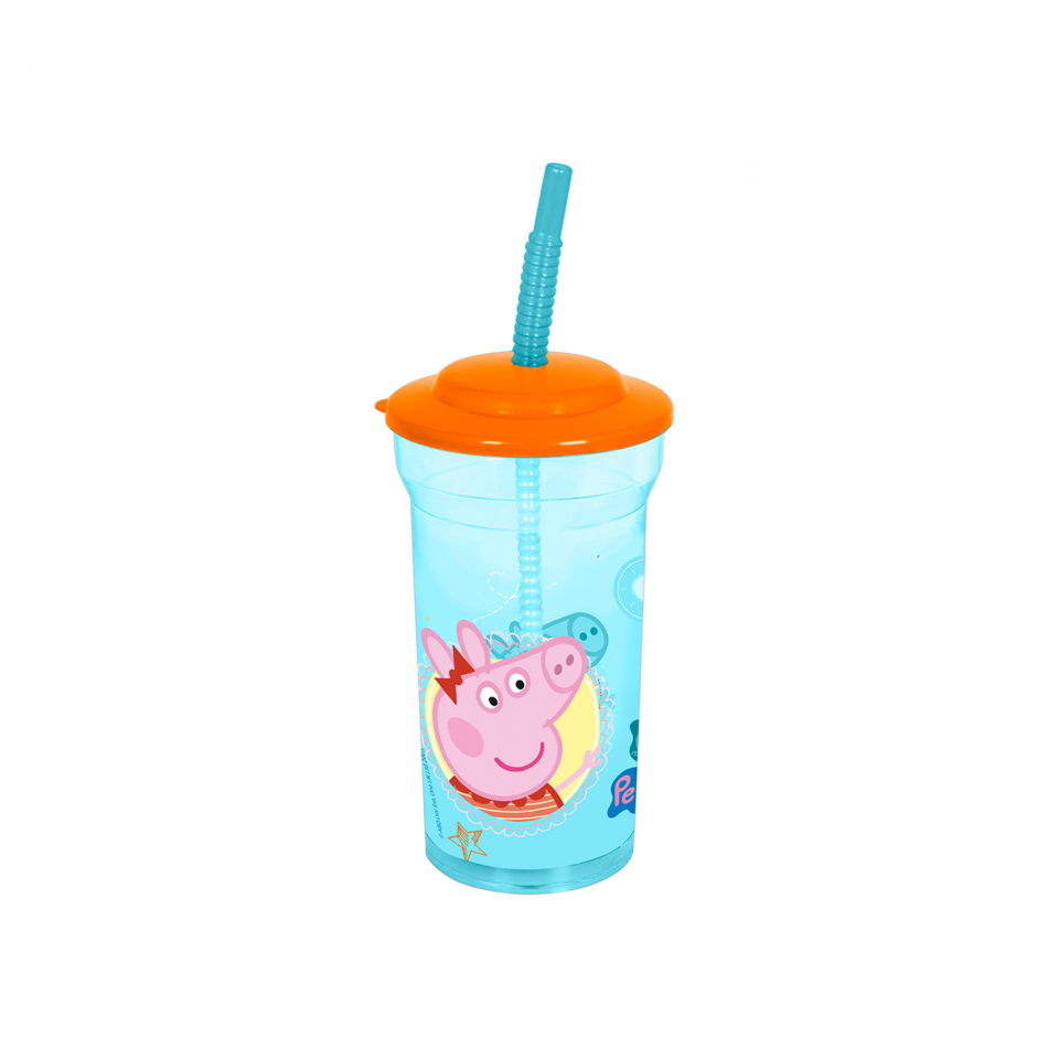 Vaso caña transparente básico 460ml. Peppa Pig Core