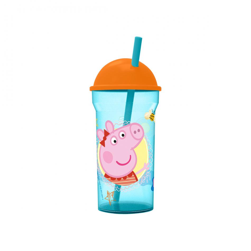 Vaso caña transparente tapa alta 460ml. Peppa Pig Core