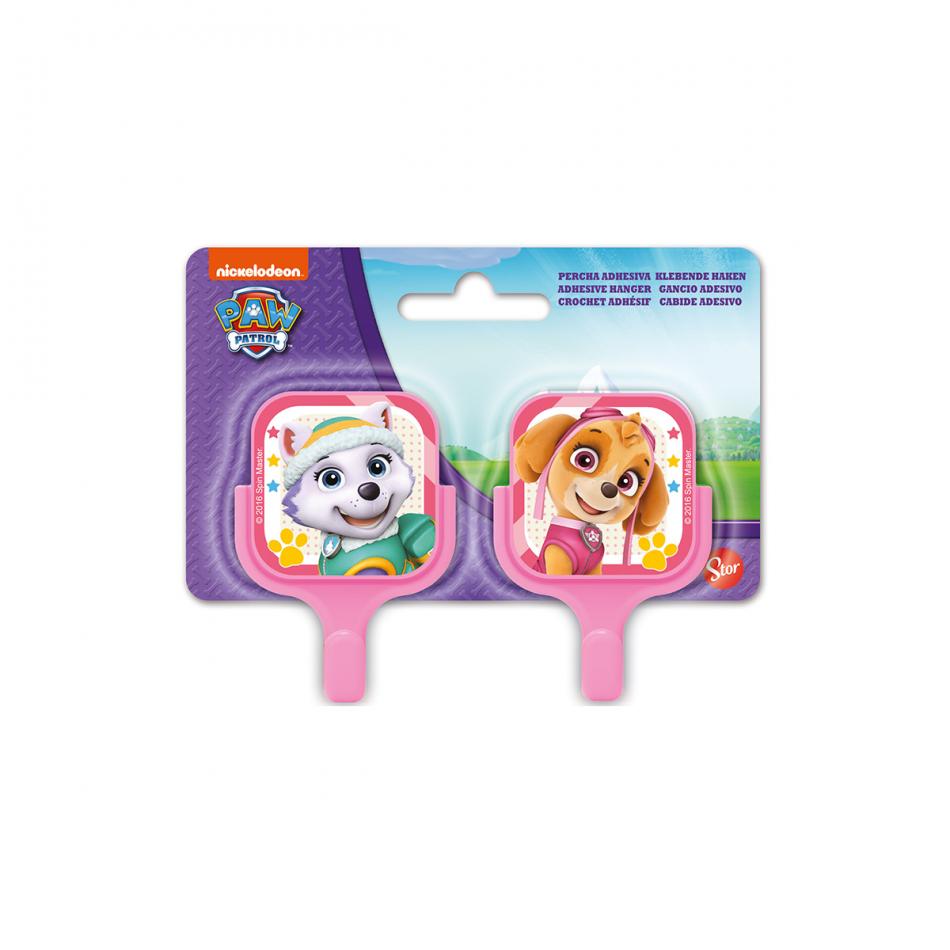 Set 2 unidades Perchas adhesivas cuadradas 5*8cm La Patrulla Canina Girl