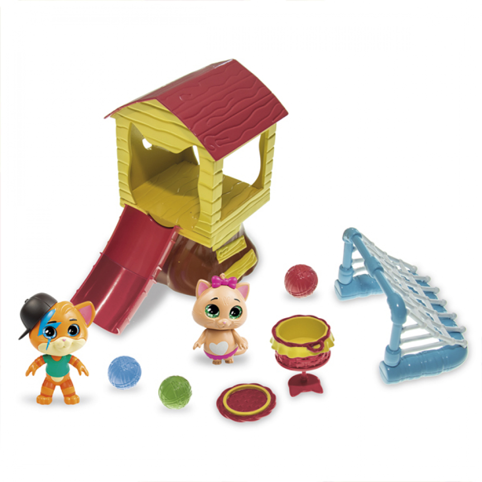 44 Gatos - Playset Casa del Arbol con 3 Figuras