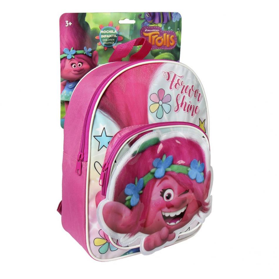 Mochila infantil Poppy rosa y blanca Trolls