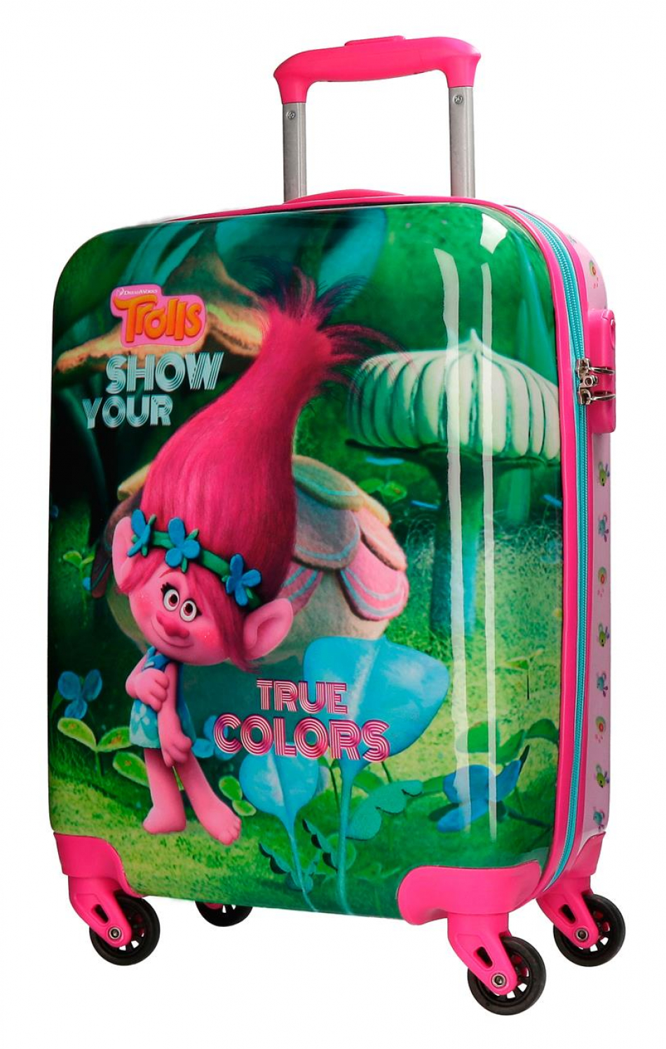 Trolley ABS 55 cm. 4 ruedas Trolls True colors