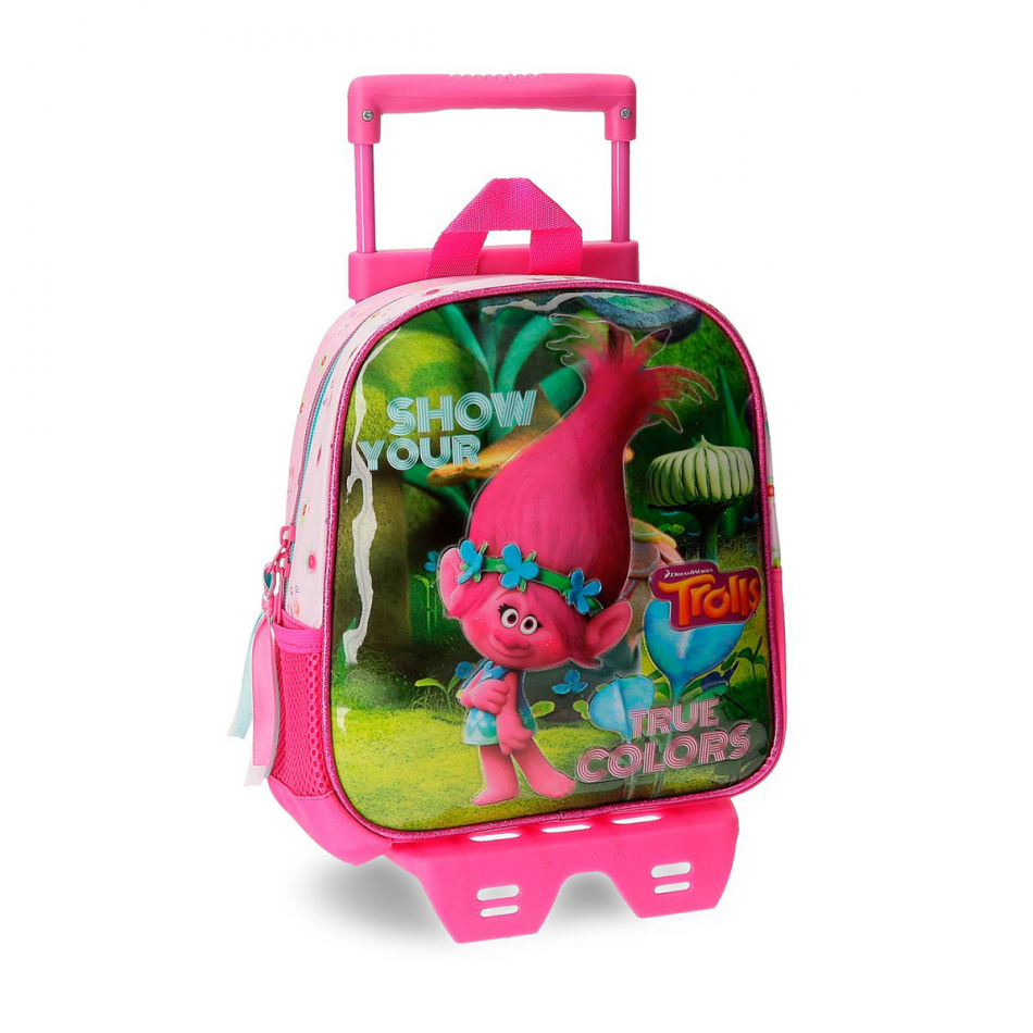 Mochila adaptable 25 cm. con carro Trolls True colors