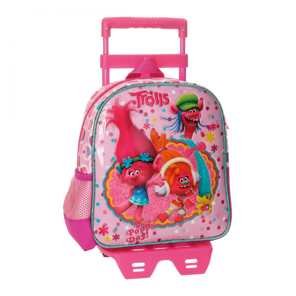 Mochila adaptable 25 cm. con carro Trolls Happy