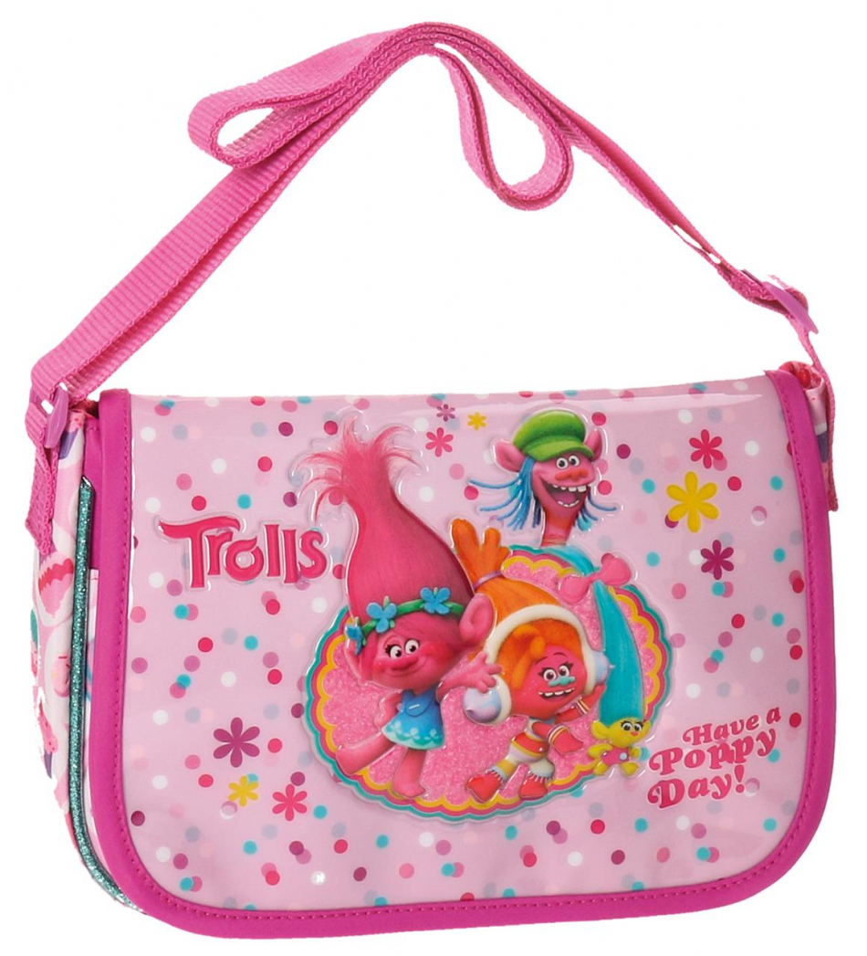 Bandolera rectangular con carro solapa Trolls Happy
