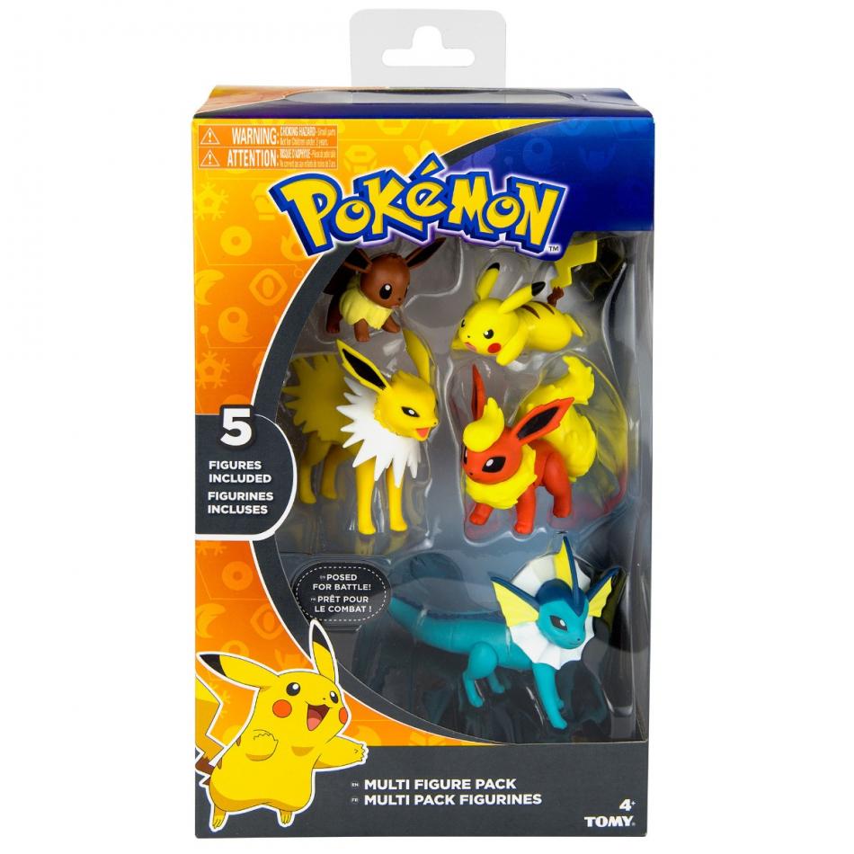 Pack de 5 figuras Pokémon: Flareon, Jolteon, Vaporeon, Eevee y Pikachu