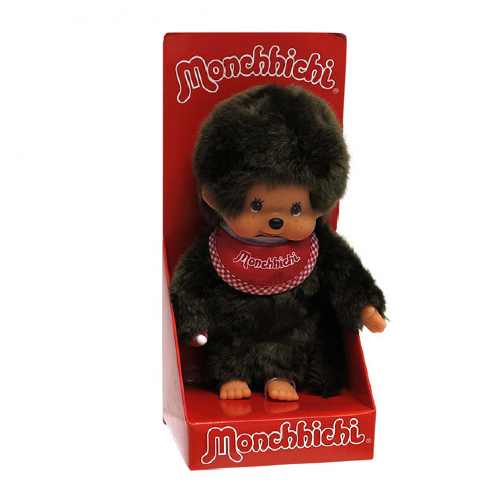 Peluche Monchhichi classic con babero rojo.
