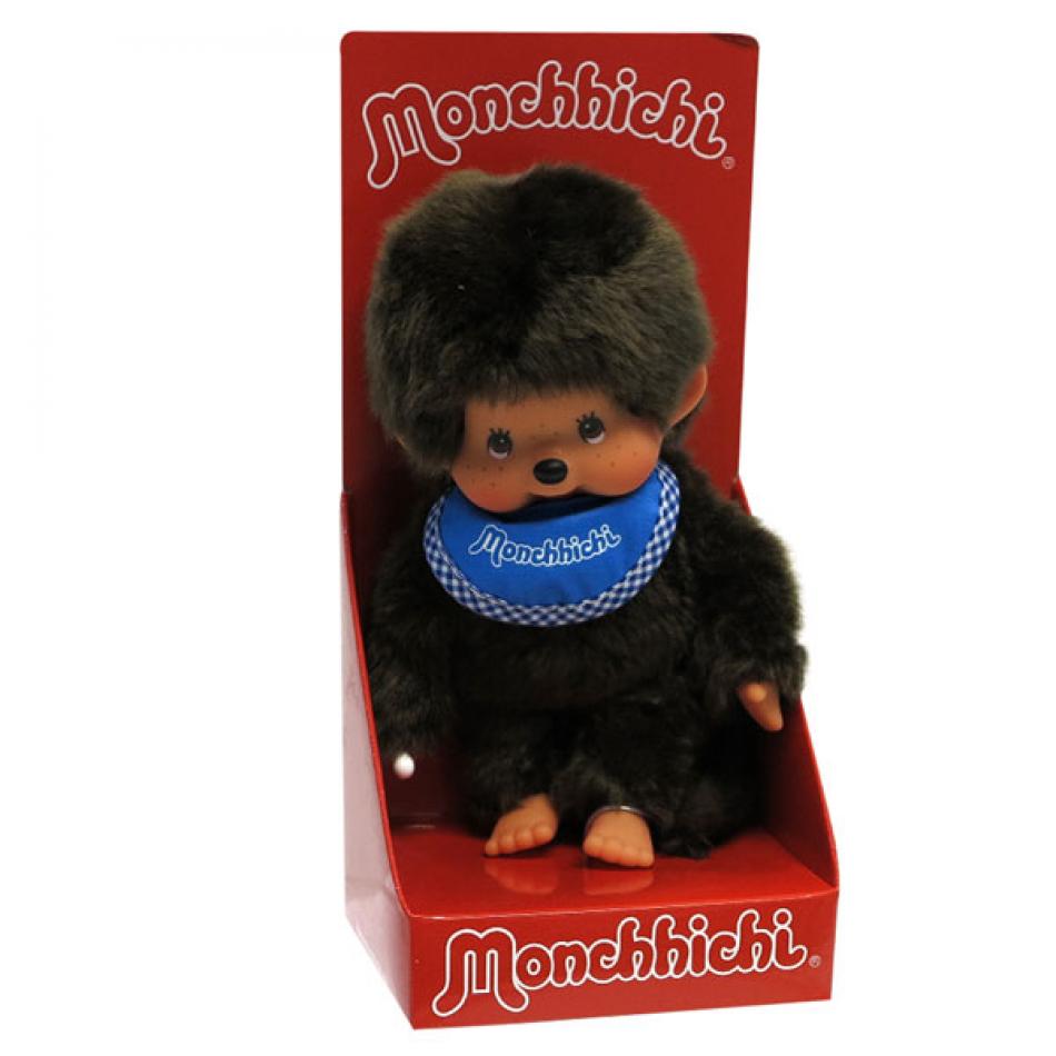 Peluche Monchhichi classic con babero azul.