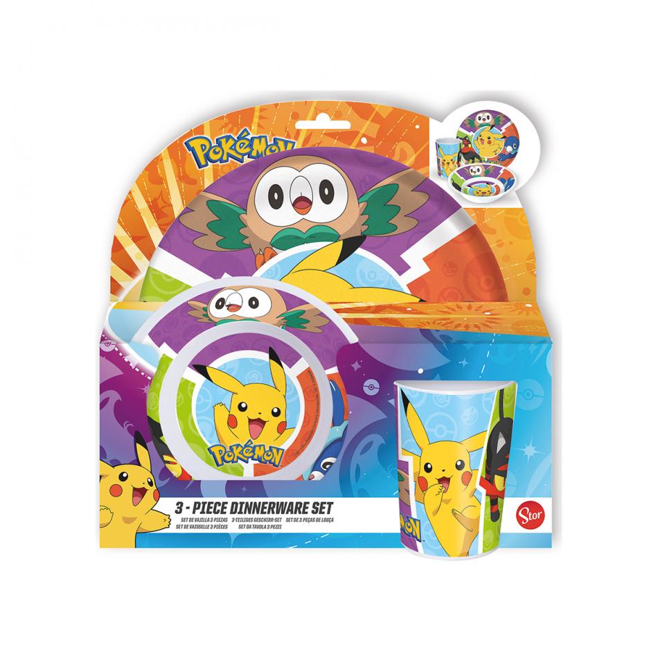 Set melanina sin orla 3 piezas. (plato, cuenco y vaso) Pokémon