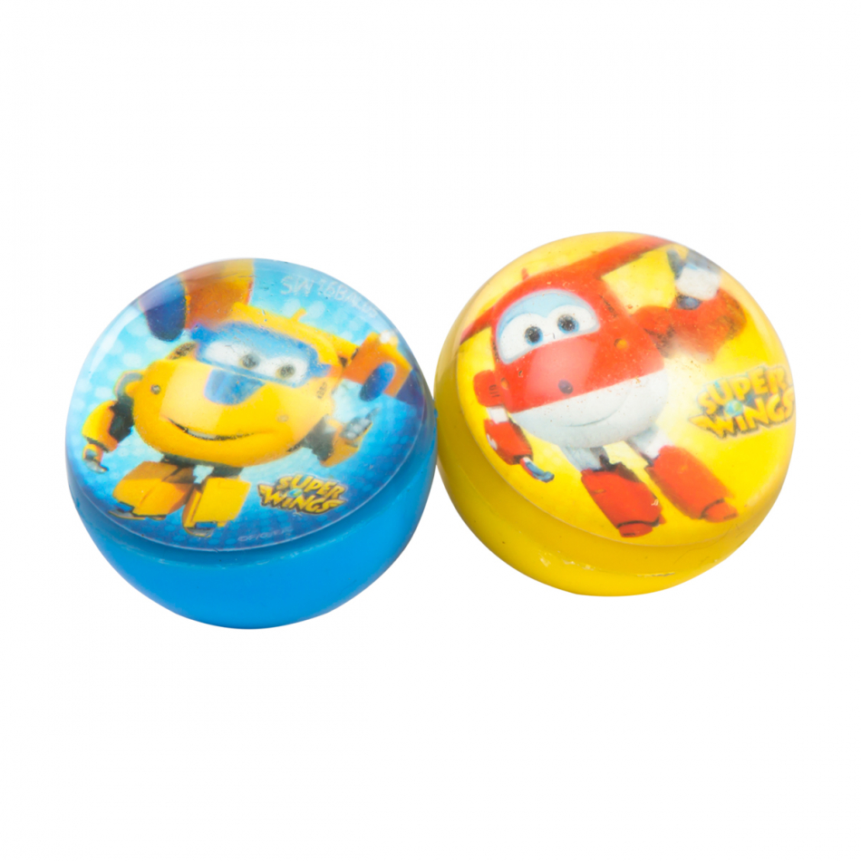 Blister 2 pelotas saltarinas diámetro 5 cm. Super Wings Jett y Donnie