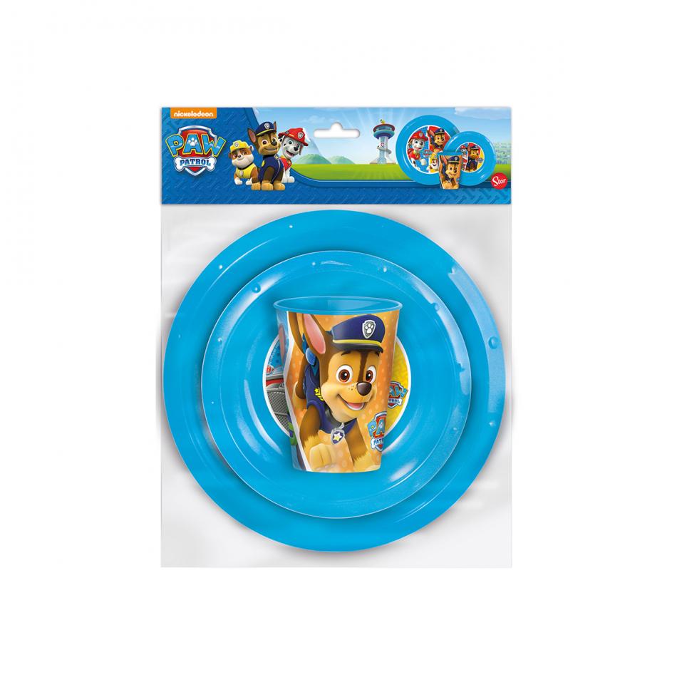 Set easy 3 piezas. (plato, cuenco y vaso 260ml.) La Patrulla Canina Colours