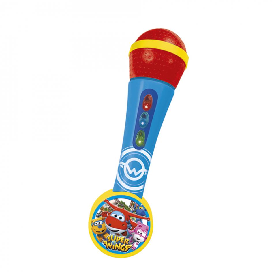 Micro de mano con amplificador y ritmos color rojo y azul Super Wings