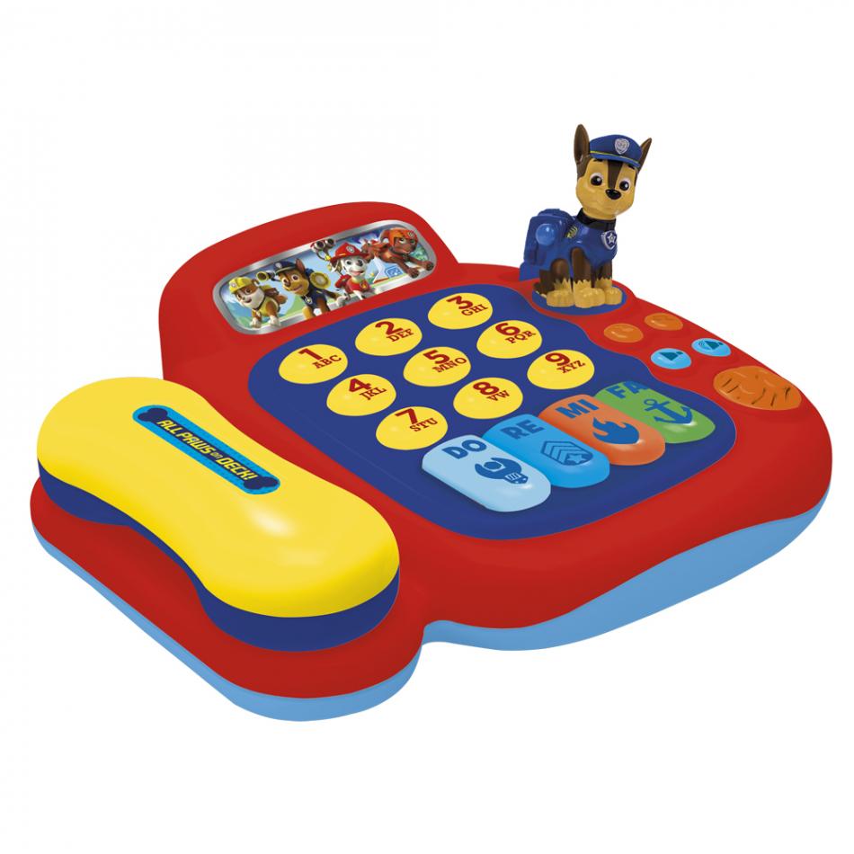 Teléfono y piano con figura Chase La Patrulla Canina
