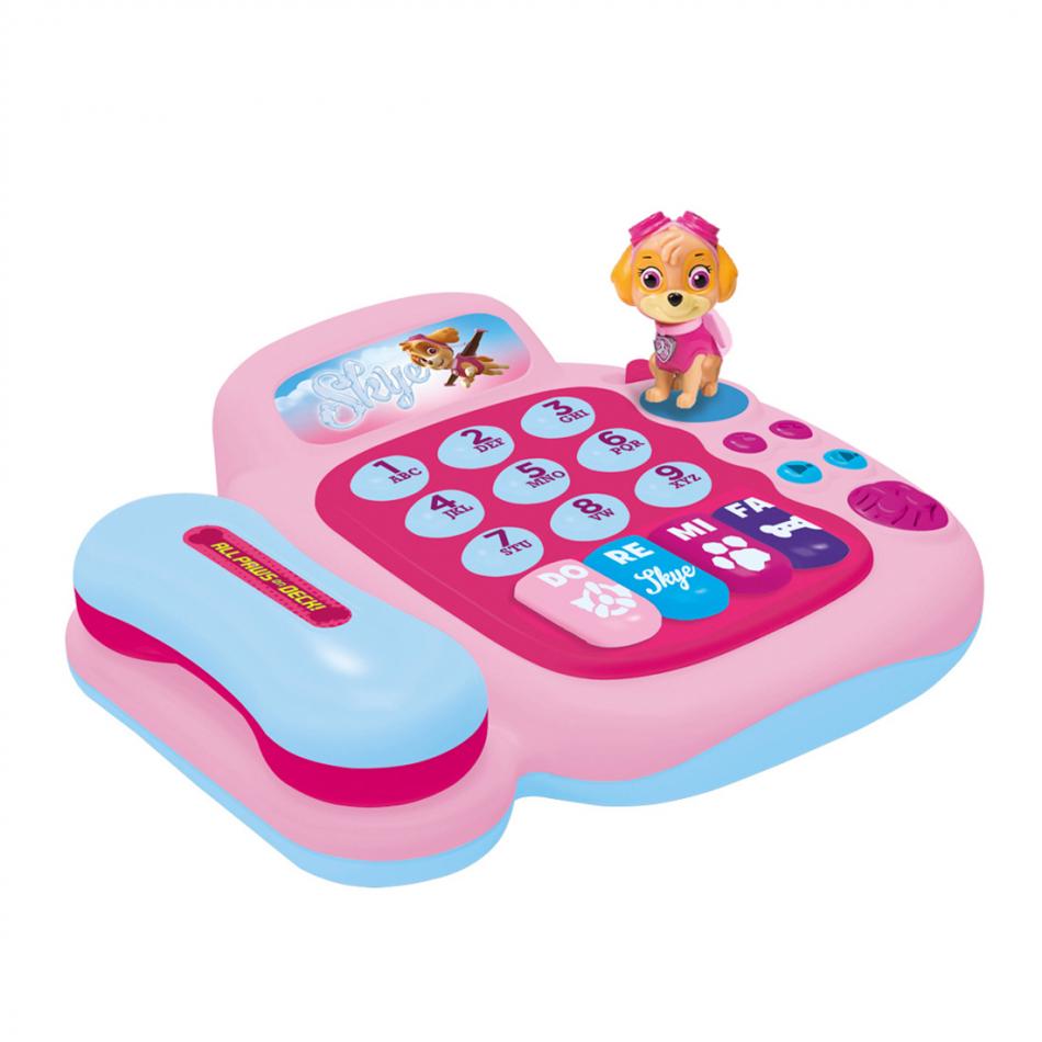 Teléfono y piano con figura Skye La Patrulla Canina