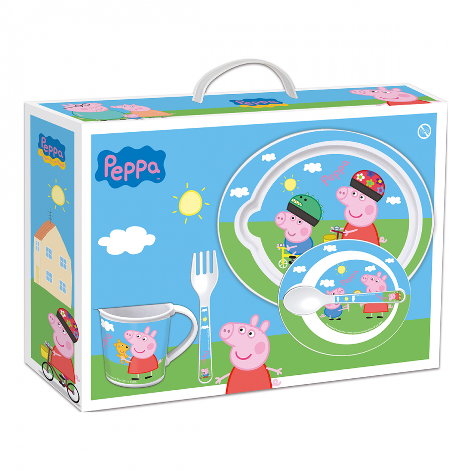 Set micro baby 5 piezas (plato, cuenco, taza y cubiertos) Peppa Pig