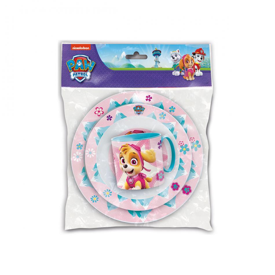 Set de 3 piezas para microondas (plato, cuenco y taza micro 265ml.) La Patrulla Canina Girl