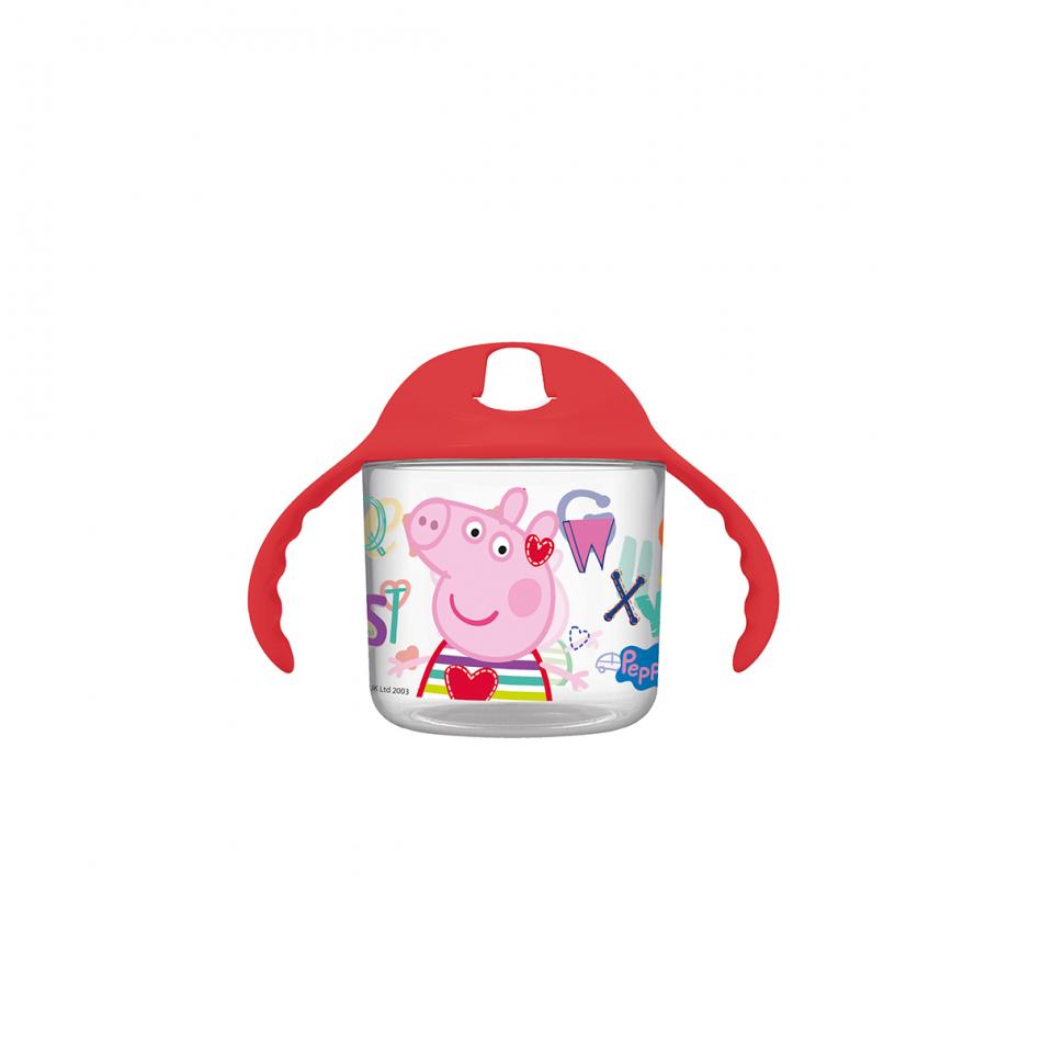 Taza entrenamiento bebé transparente 250ml. Peppa Pig Letters