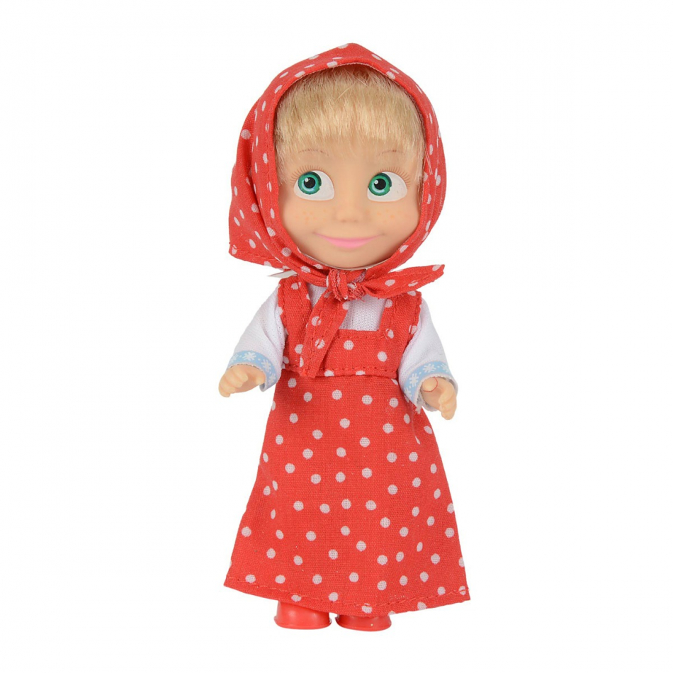 Masha y el Oso - Muñeca 12cm con vestido rojo con lunares