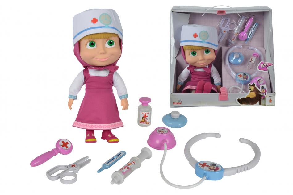 Masha y el Oso - Muñeca de 30cm con maletín médico y accesorios con sonido
