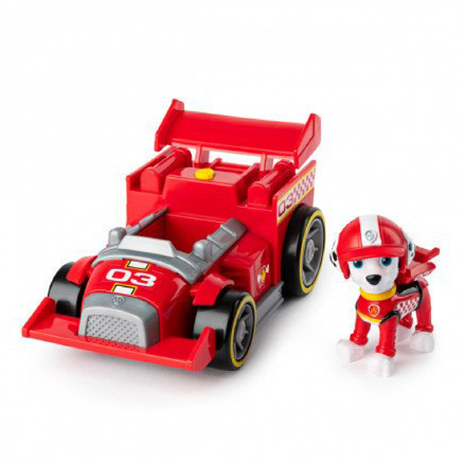 La Patrulla Canina Vehículo y Figura con Sonidos Race & GO - Marshall