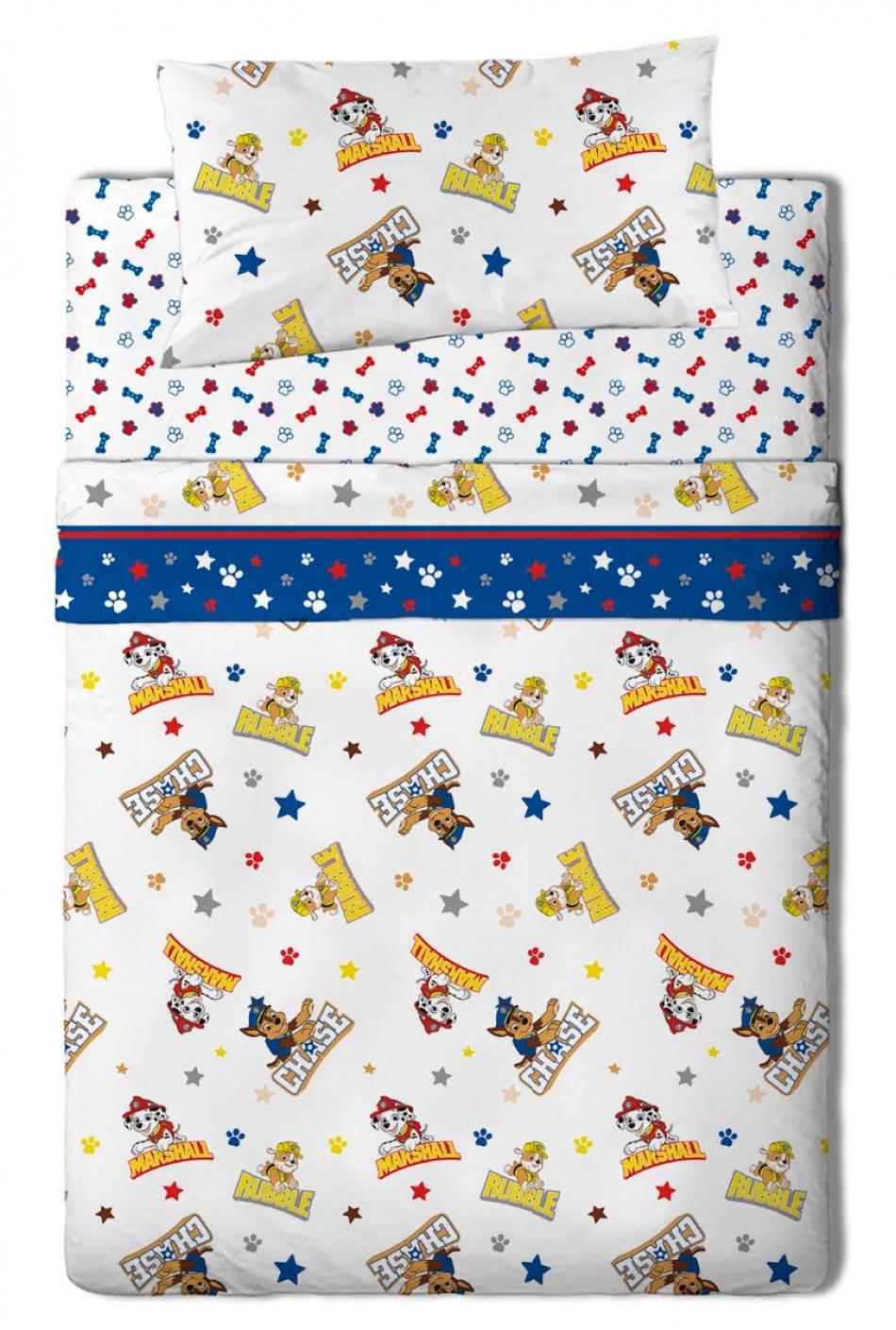 Juego de sábanas de franela para cama de 105 cm con 3 piezas La Patrulla Canina