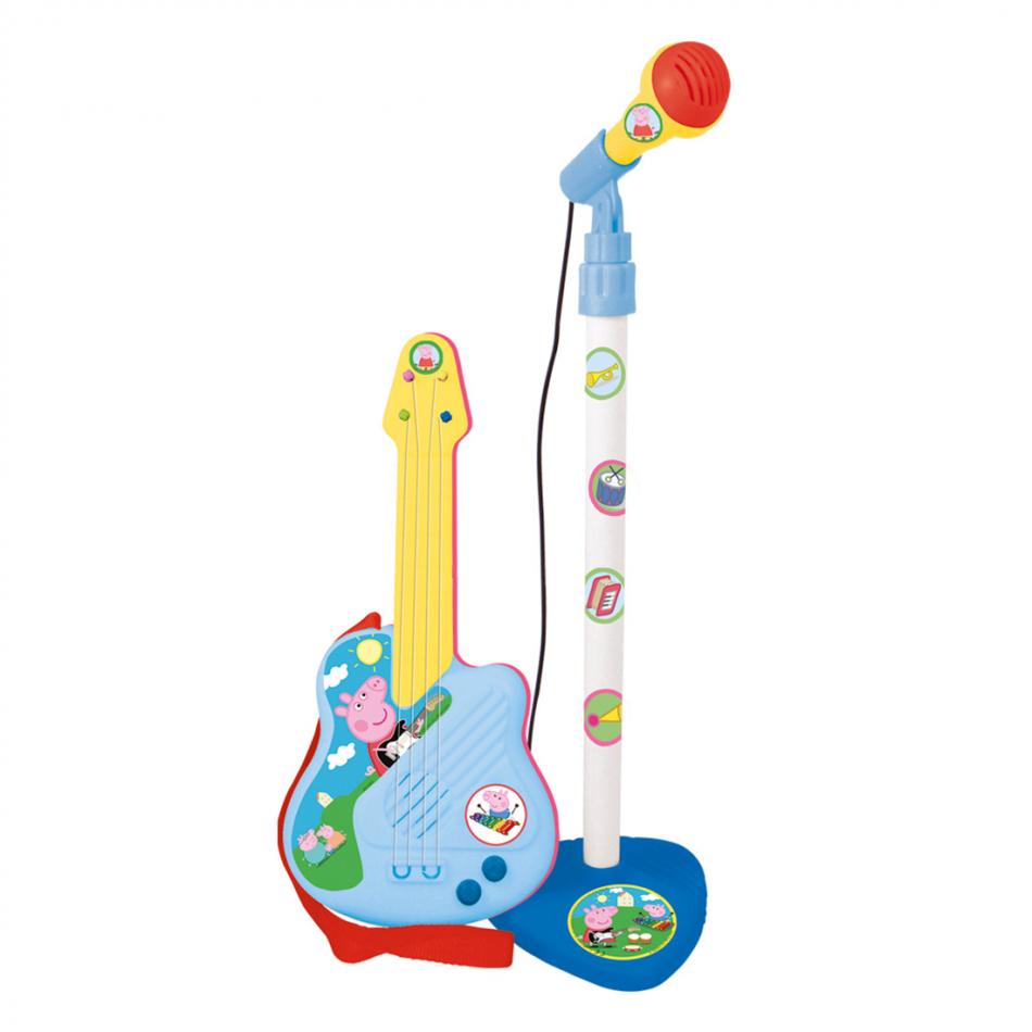 Guitarra electrónica con micro Peppa Pig