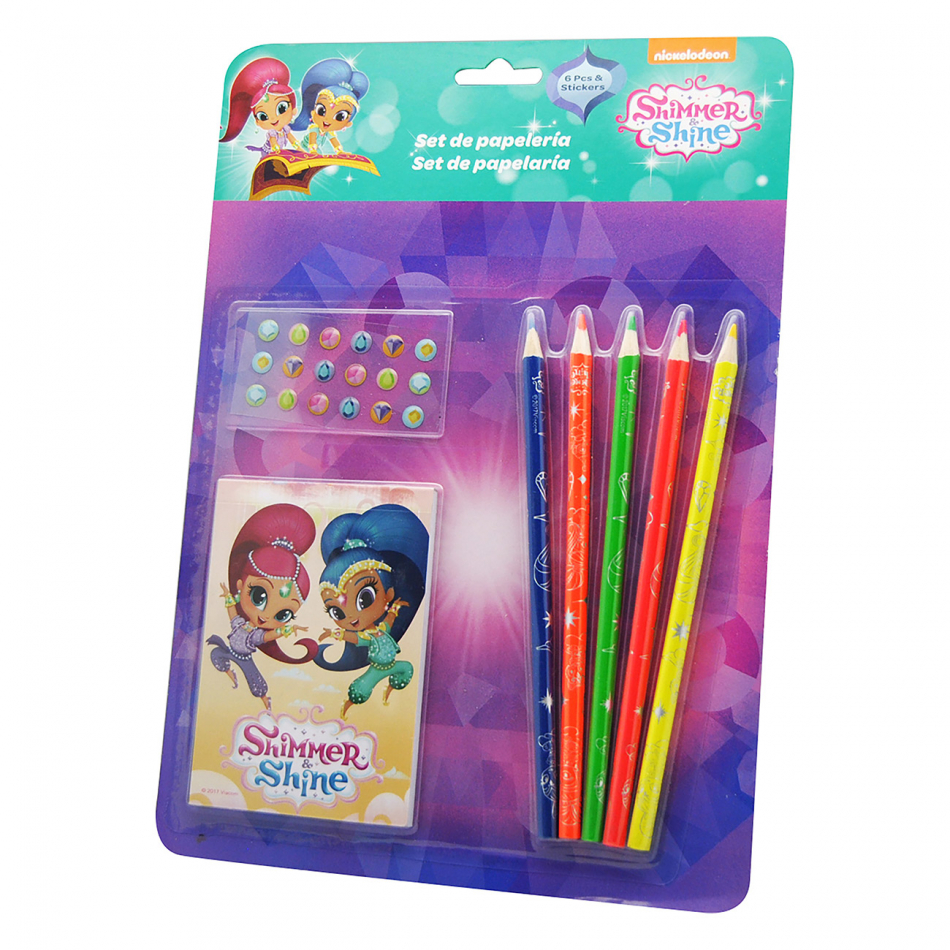 Set 6 piezas con stickers Shimmer y Shine