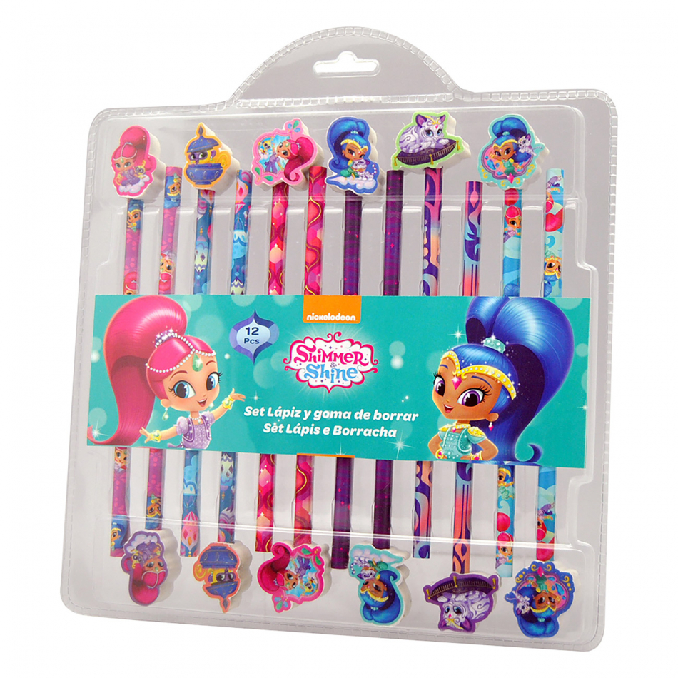 Set 12 lápices con gomas Shimmer y Shine