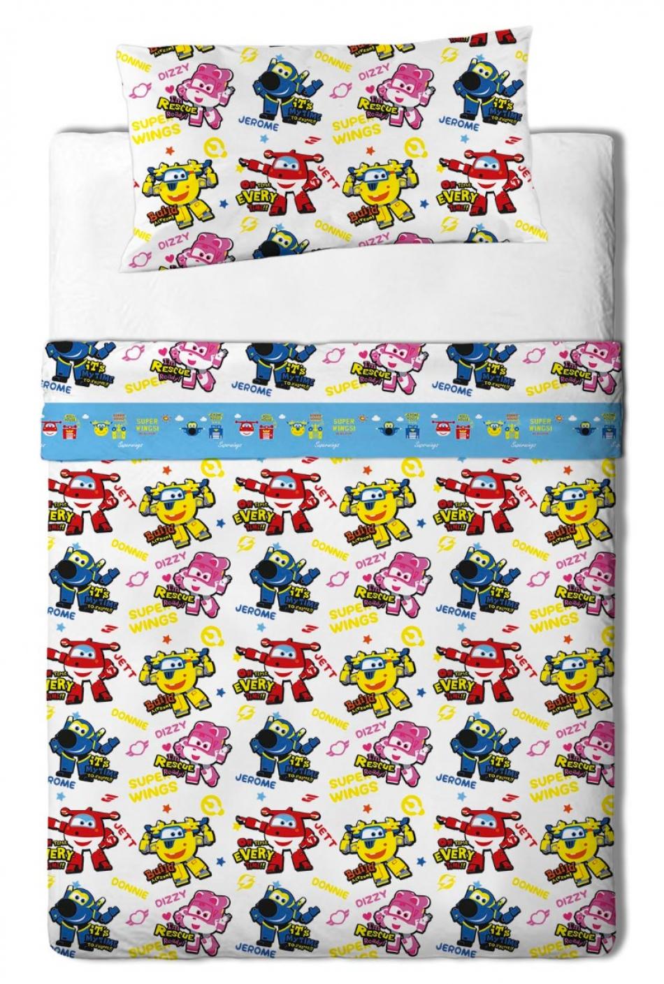 Juego de sábanas de franela para cama de 105 cm con 3 piezas Super Wings