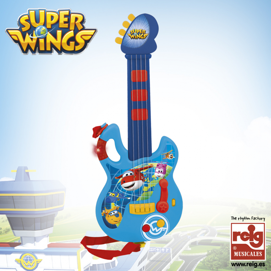 Guitarra color azul y rojo Super Wings