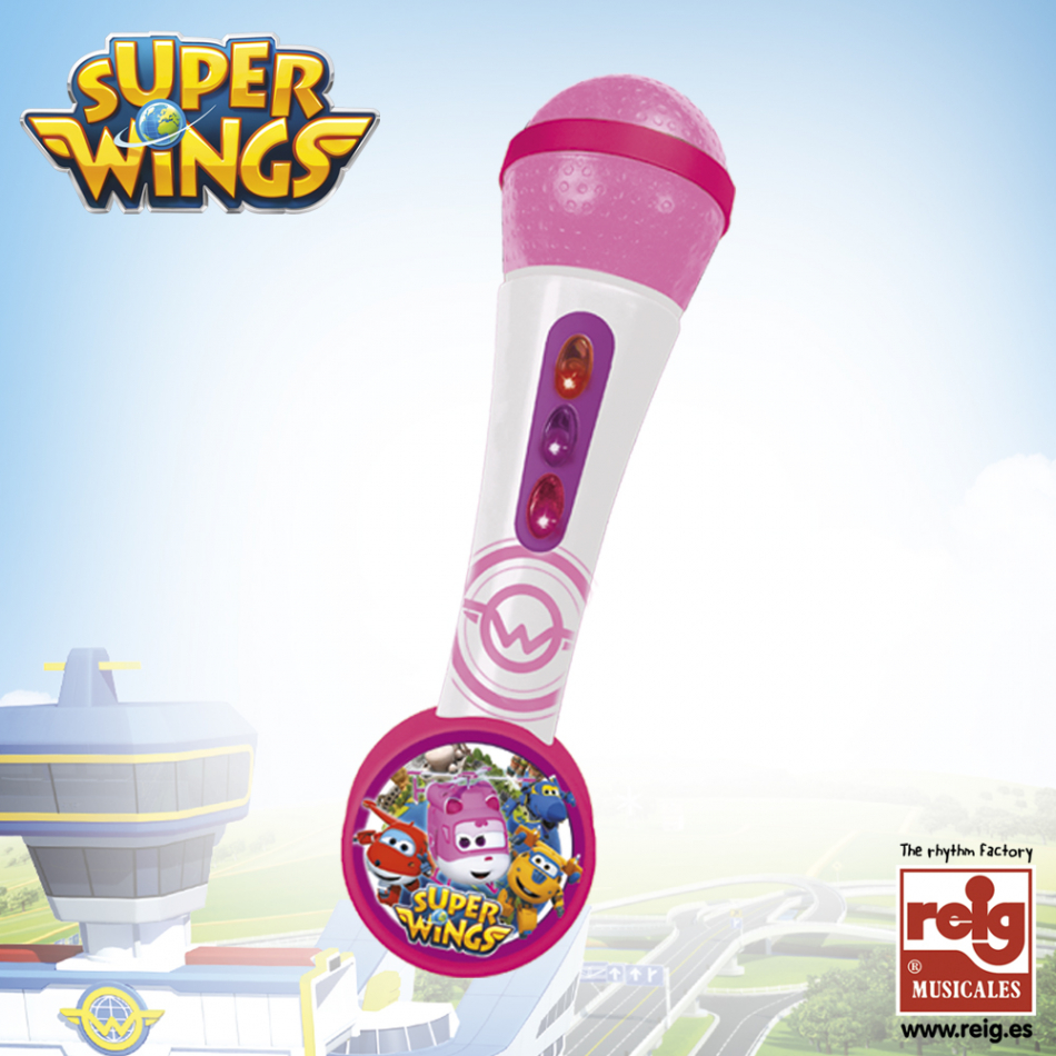 Micro de mano con amplificador y ritmos color rosa y blanco Super Wings