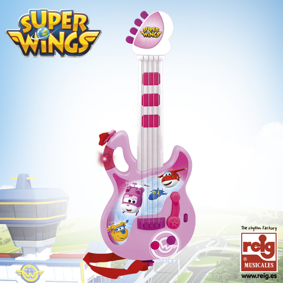 Guitarra color rosa y blanco Super Wings