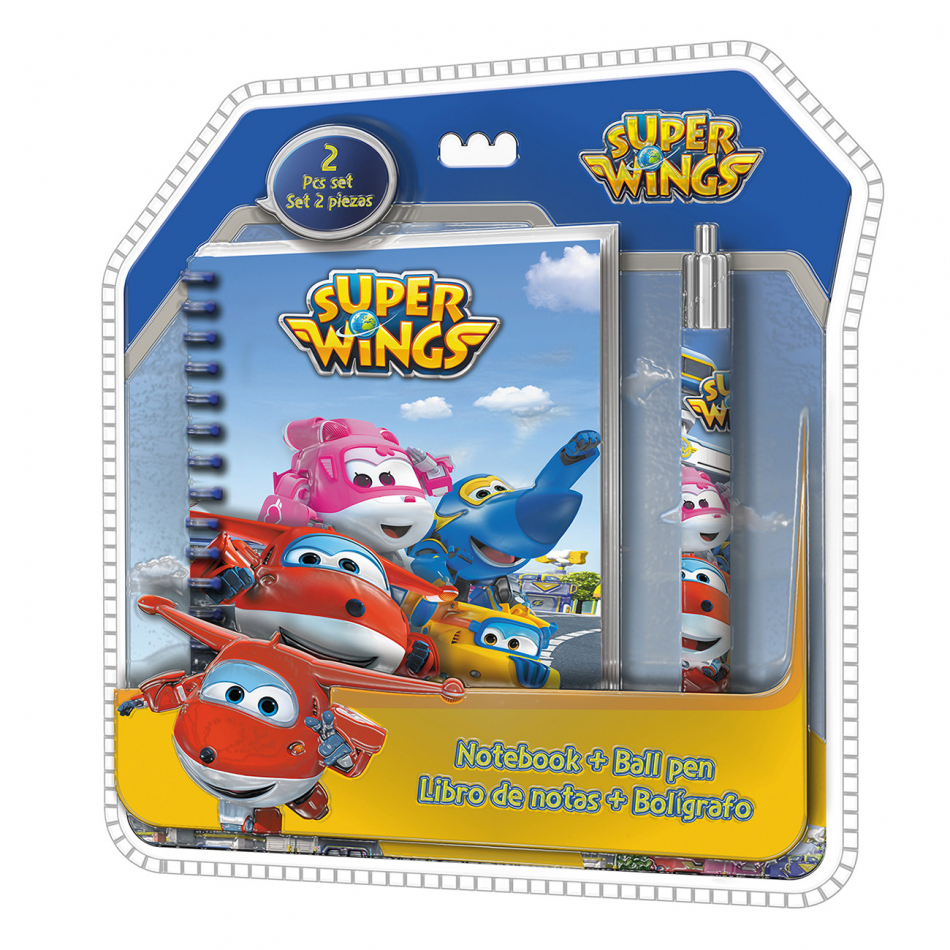 Blíster libreta espiral y bolígrafo Clamshell 3d Super Wings